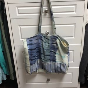 Tie-dye leather tote